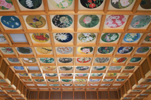 Painted ceiling of 26 species of flowers in a building of the Tachibana-dera temple