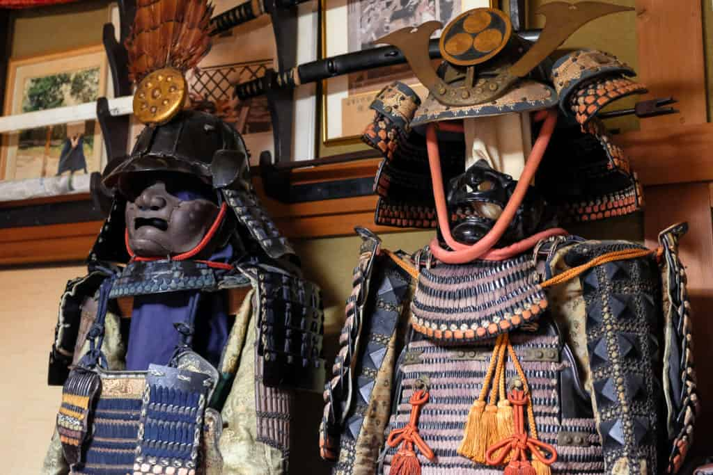 Mr. Matsunaga's collection of antique swords, spears, and armour