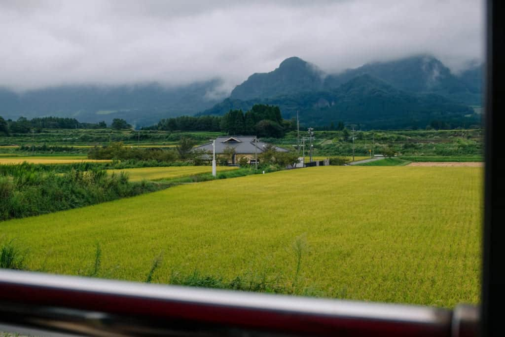 """View from """"Torokko"""" Trolly Train of South Aso"""