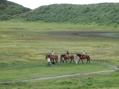 Horseback riding at Mt Aso
