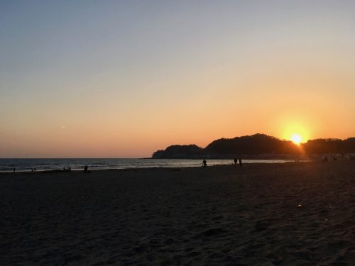 The beach of Kamakura, Japan.