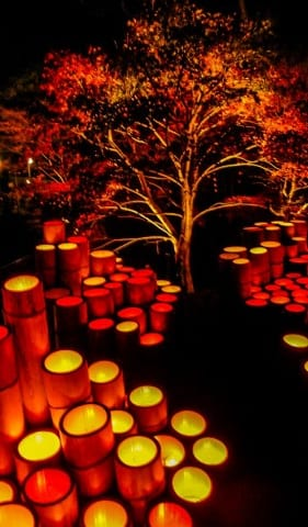 Das Laternenfest in Ogi, Präfektur Saga auf Kyushu, Japan.