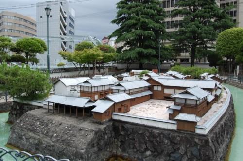 Maqueta de la isla Dejima, en Nagasaki (Japón).