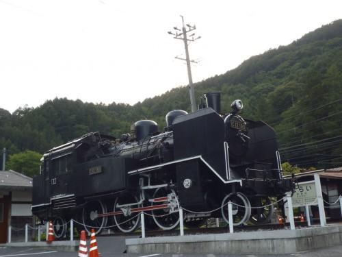Locomotora de vapor en Narai-juku, Japón