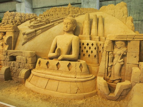Esculturas de arena en el museo de Tottori.