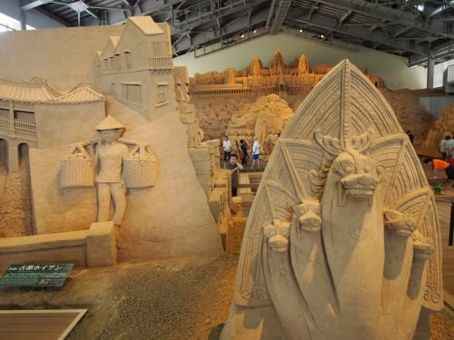 Esculturas de arena en el museo de Tottori, Japón.
