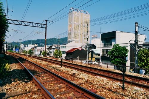 Vía de tren en Onomichi, Hiroshima.