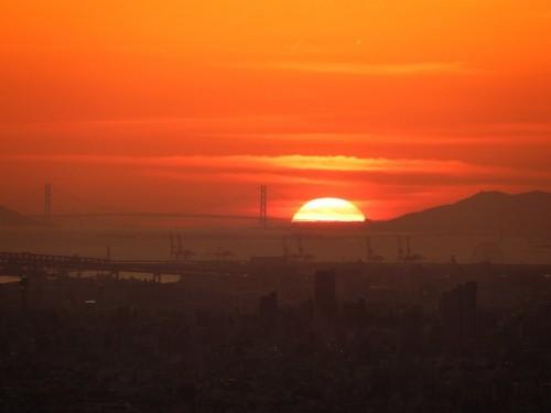 Puesta de sol desde la cima del monte Ikoma