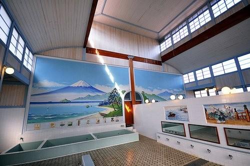 Interior de un onsen en Japón