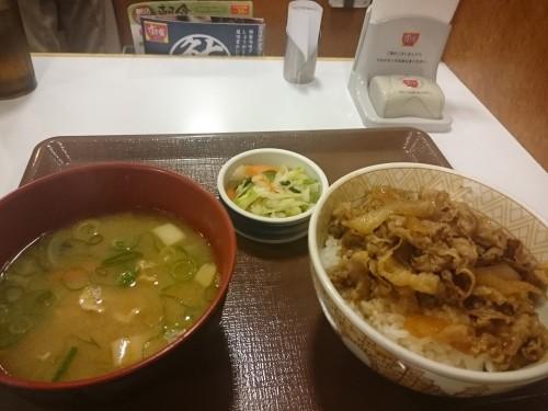 Plato de gyudon en un restaurante de Japón