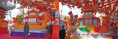 Farolillos con forma de barco en el Festival de las Linternas de Nagasaki