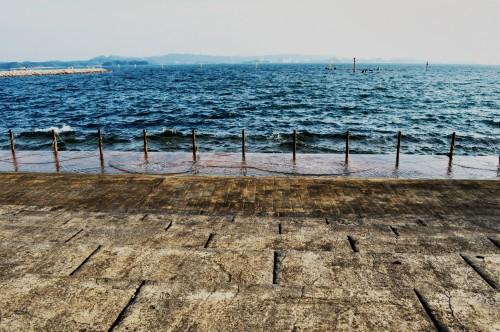 Bella vista del océano desde la paya de Ogigahama.