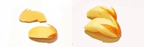 Manzana cortada en forma de conejo para una caja bento infantil