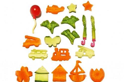 Alimentos con distintas formas para una caja bento infantil