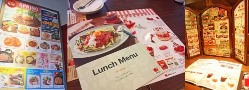 Menús de varios restaurantes familiares japoneses.