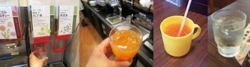 Bebidas al gusto en un drink bar de un restaurante familiar japonés.