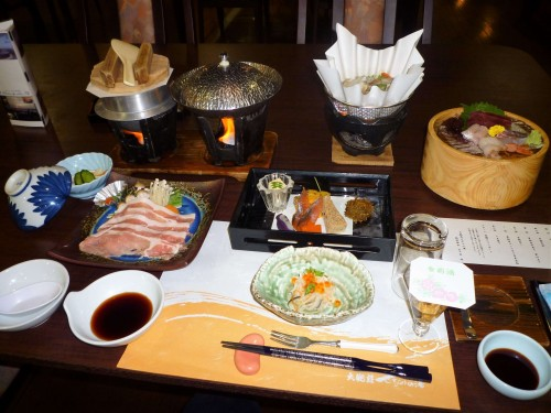 Cena en el ryokan Taikanso Senami no yu.