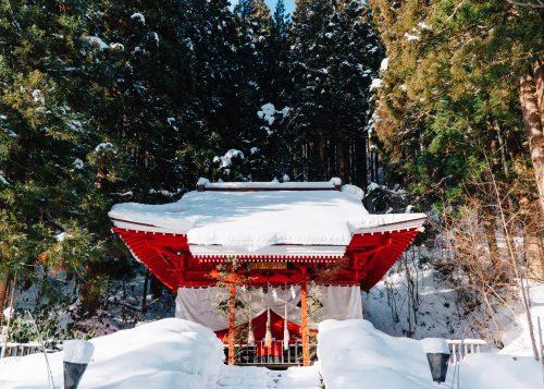 Santuario Gozanoichi al lago de Tazawa, Semboku, Akita.