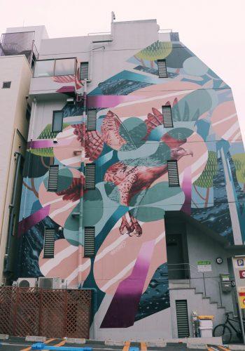 Mural en el barrio de Koenji, Suginami, Tokio, Japón