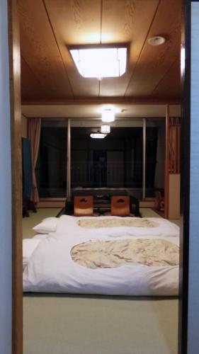 Futons et tatami dans l'hôtel Lakeland Mizunosato