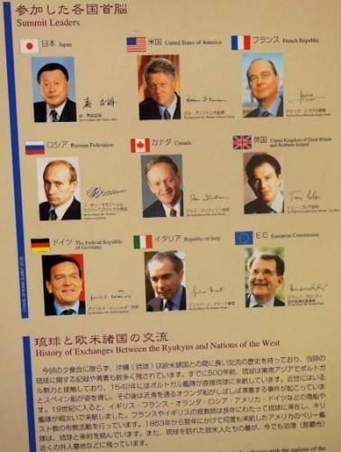 Chefs d'états présents au G8 en 2000 au château Shurijo de Naha à Okinawa