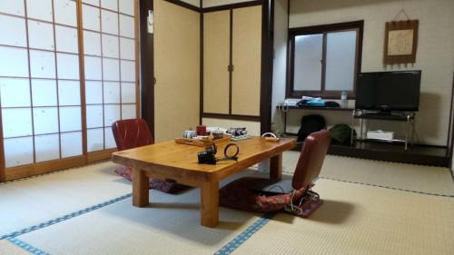 Chambre du ryokan Hakuunsou situé dans le village de Yunohira à côté de Yufuin sur l'île de Kyushu