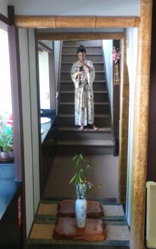 En yukata au ryokan Hakuunsou situé dans le village de Yunohira à côté de Yufuin sur l'île de Kyushu