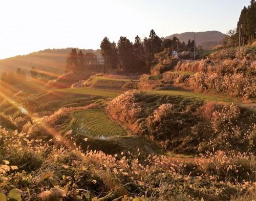 Magnifique paysage du village de Yamanoshi, Niigata, Japon.