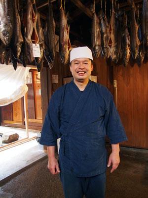 La boutique de saumon Kikkawa, ville de Murakami, Niigata, Japon.