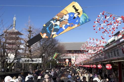 Le temple Sensoji temple au moment du Nouvel An.