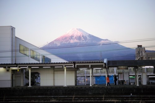 the shades of pink, blue and purple on Mount Fuji!