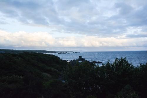 La vue de la chambre du minshuku takimoto sur l'île de Sado, Niigata