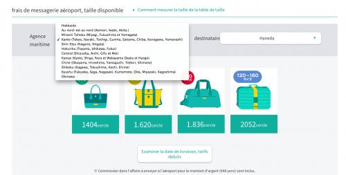 Taille et poids pour le service de livraisons de bagages au Japon