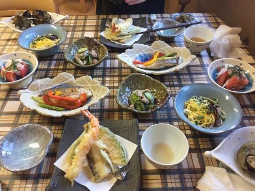 Le dîner au minshuku Tokiokaso avec des produits de la mer !