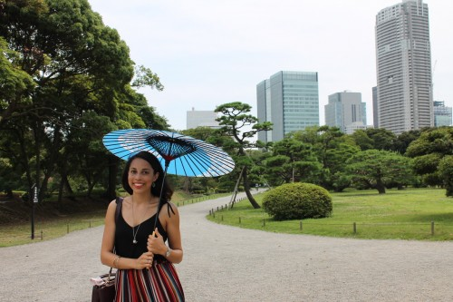 Se rafraichir avec un parasol pendant l'été