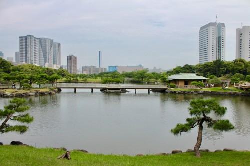 Vue sur le bassin d'eau au jardin japonais de Hamarikyu, Tokyo, Japon.