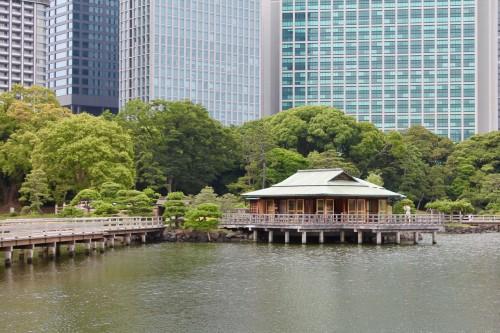 Hamarikyu jardin japonais à Tokyo, au Japon.