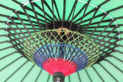 Filetage traditionnel japonais à l'intérieur d'un parapluie