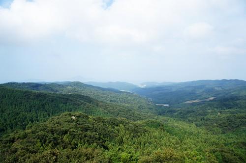 Vue panoramique depuis le mont Fudo dans la péninsule de Kunisaki, Oita, Kyushu