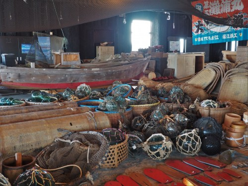 Antiquités à foisonbaie de toyama, pêcheurs, himi, poissons, japon, centre d'échanges culturels