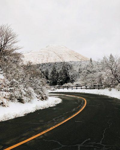 Mont Aso, neige, Kumamoto, Japon, Kusasenri, mont Eboshi