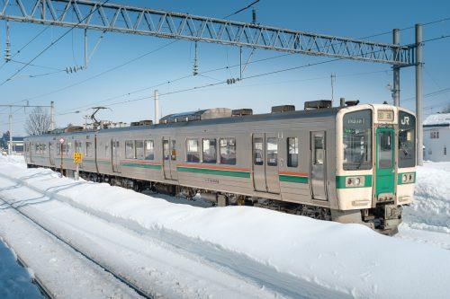 Trains dans la neige, Tohoku, Yonezawa, Japon