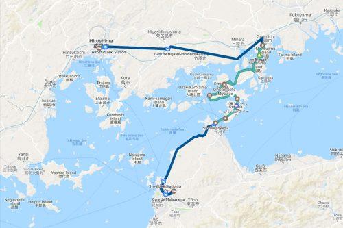 Itinéraire emprunté sur la Shimanami Kaido, dans la région de Setouchi au Japon