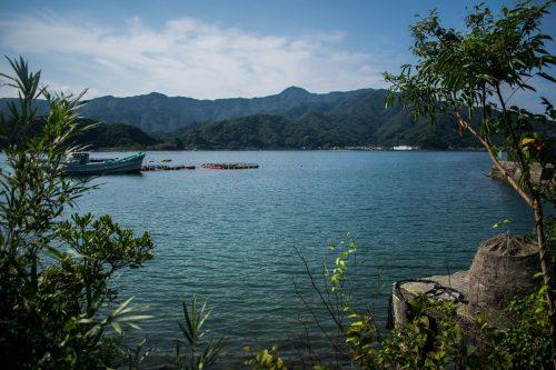 Vue sur la mer et les montagnes de l'île d'Ohnyujima, préfecture d'Oita, Japon