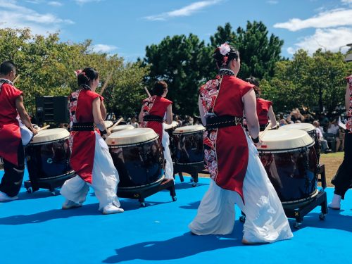 The Wa-Daiko are played in groups on big drums