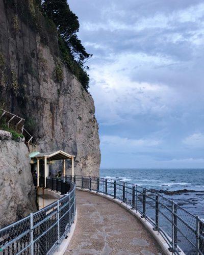 a cliff facing the ocean
