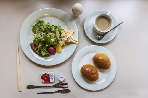 Western-style breakfast at Plaza Hotel Sakae in Nakatsugawa, Gifu Prefecture, Japan