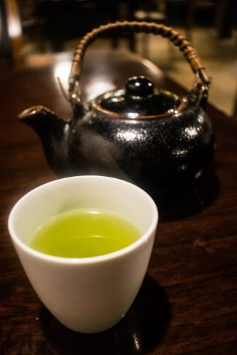 Green tea served at Yunotake-an restaurant in Yufuin, Oita prefecture, Japan