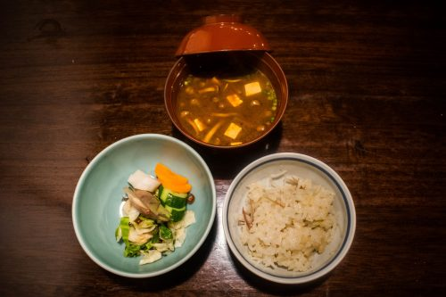 Rice, Vegetables and Miso Soup at Yunotake-an Restaurant in Yufuin, Oita Prefecture, Japan