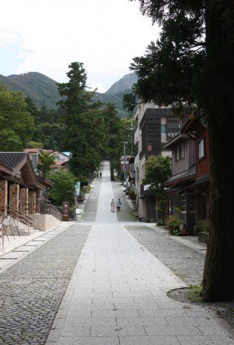 Rue principale du hameau de Daisen, au pied du Mt Daisen, préfecture de Tottori, Japon